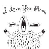 Illustrationen med det glade fåret, som säger - jag älskar dig mamman För design av roliga avatars, affischer och kort gulligt dj stock illustrationer