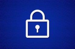 Illustrationen med låssymbol på blått zero bakgrund för enhet en Arkivbild