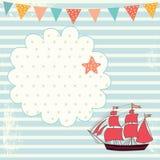 Illustrationen med seglar fartyget Royaltyfria Foton