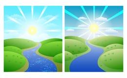 Illustrationen mit einfachen Sommerlandschaften des Satzes, wickelnder Fluss gegen Grünufer und sonniger Himmel