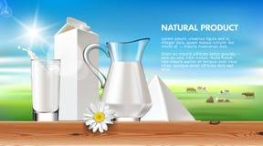 illustrationen mjölkar och mejeri på en bakgrund av gröna gräsmatta- och flockkor vektor illustrationer
