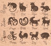 Illustrationen oder Ikonen aller zwölf Chinesen Lizenzfreie Stockfotografie