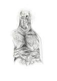 Illustrationen skapade med blyerts att visa ett imaginärt, ensligt melankoliskt mänskligt diagram Minimalist och delikat teckning Royaltyfri Fotografi