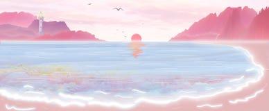 Illustrationen solen stiger från havet, skiner fyren i riktningen av avståndet, och vågorna slår den mjuka stranden vektor illustrationer