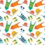 Illustrationen visar strandtillbehören stock illustrationer