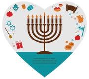 Illustrationen von berühmten Symbolen für den jüdischen Feiertag Chanukka Lizenzfreies Stockbild
