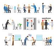 Illustrationen von den Leuten, die in einem Büro arbeiten Lizenzfreies Stockfoto