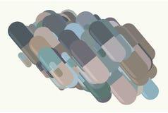 Illustrationen von Kapseln, von Medizin oder von Pillen Dekoration, Droge, Zeichnung u. Virus stock abbildung