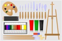 Illustrationen von Malereiwerkzeugen lizenzfreies stockbild