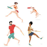 Illustrationer av folk som spelar flygdisketten Arkivbild