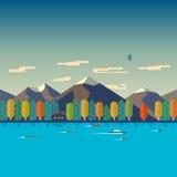Illustrationer av höstlandskapet royaltyfri illustrationer