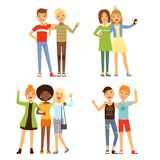 Illustrationer av kamratskap Olika manliga och kvinnliga vänner Vänliga grupper stock illustrationer
