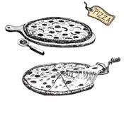 Illustrationer av pizza Royaltyfri Foto