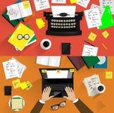 Illustrationer av retro skrivmaskiner Begrepp av Arkivfoton
