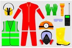 Illustrationer av säkerhetshjälpmedel royaltyfri illustrationer