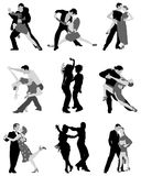 Illustrationer av tangospelare Royaltyfri Foto
