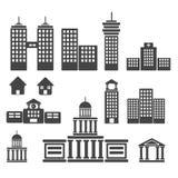 Illustrationer för byggnadssymbolsuppsättning Arkivbilder