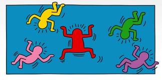 Illustrationer för popkonst av lite mannen med barn- och djurträd och landskap för baner eller mallar Arkivfoto