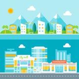 Illustrationer för semesterortstad och affärsstads Cityscapes i plan design Arkivbild