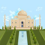 Illustrationer för sommar för Taj Mahal India berömda byggande dragningsvektor royaltyfri illustrationer