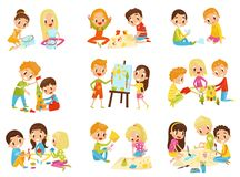 Illustrationer för vektor för begrepp för ungekreativitetuppsättning, barns kreativitet-, utbildnings- och utvecklingspå en vit b vektor illustrationer