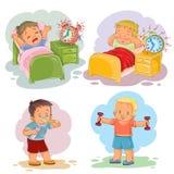 Illustrationer för gemkonst av små barn vaknar upp i morgonen Royaltyfri Foto