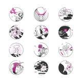 Illustrationer i den asiatiska stilen Tatuering tryck, tecken vektor illustrationer