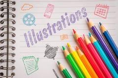Illustrationer i färger på linjärt papper Fotografering för Bildbyråer