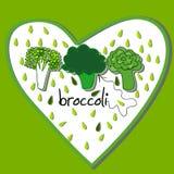 Illustrationer med färgrik broccoli Royaltyfria Foton