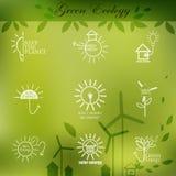 Illustrationer med symboler av ekologi, miljö, Royaltyfri Foto