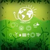 Illustrationer med symboler av ekologi, miljö, Royaltyfri Fotografi