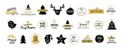 Illustrationer och symboler för glad jul, royaltyfri illustrationer