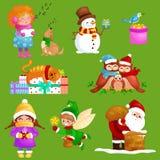 Illustrationer ställer in glad jul det lyckliga nya året, sånger för flickaallsångferie med husdjur, snögubbegåvor, katt, och hun Royaltyfri Foto