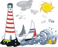 illustrationfyryacht royaltyfri illustrationer