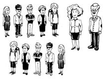 Illustrationgrupp människor Royaltyfri Bild