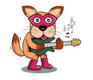 Illustrationhund som spelar den elektriska gitarren Vektor Illustrationer