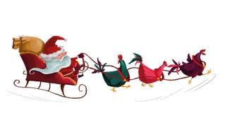 Illustrationjulkortsläde med tre tuppar som är drivande vid Santa Claus Arkivbilder