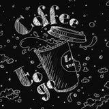 Illustrationkaffe som går, att kupa ett öppet lock, målade vit vit på ett svart bräde stock illustrationer