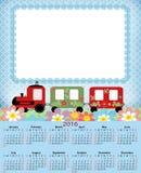 Illustrationkalender för 2016 i ungedesign Arkivbilder