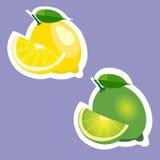 Illustrationklistermärkeuppsättningen av citron och limefrukt bär frukt Royaltyfri Bild