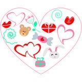 Illustrationkort av valentindagen Extra format EPS 8 royaltyfri bild