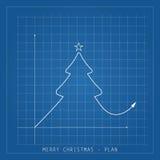 Illustrationkort för glad jul Trädteckningsritningar på a royaltyfria foton