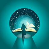 Illustrationkvinnor och fackla in mot ljus med kunskap royaltyfri illustrationer