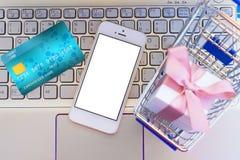 illustrationlinje shopping för begrepp 3d Royaltyfria Bilder