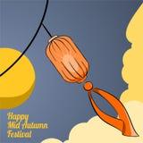 Illustrationlykta av den lyckliga mitt- höstfestivalen stock illustrationer