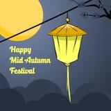 Illustrationlykta och måne av den lyckliga mitt- höstfestivalen stock illustrationer