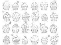 Illustrationof svartvita muffin stock illustrationer