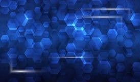 Illustrationram av glödande delar i bakgrunden av sexhörningar och sexhörningar, blå techbakgrund för asbtract _ Royaltyfri Bild