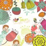 Illustrationram med gulliga blommor och änglar Royaltyfria Foton