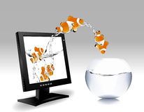 Illustrations 2010_0656. Frontal view of widescreen lcd monitor, and clown fish jumping out of the screen to water bowl Stock Photos